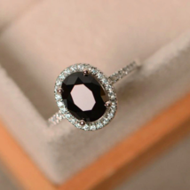 2Ct Oval-Cut Black Diamond Halo Women's Engagement Ring 14K White Gold F... - $123.49
