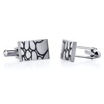 Abstract Squiggle Design Brushed Finish Titanium Cufflinks - $59.99