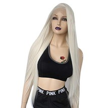 Ebingoo Platinum Blonde Lace Front Wig with LongSilk Straight Natural S... - $44.08
