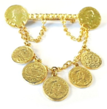 Vintage Faux Coin Charm Pin Brooch Dangle Chains Goldtone - $12.99