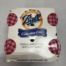 Vintage 1998 4-BALL Collection Elite Mason Jars Gingham Dome Lids . New - $18.47
