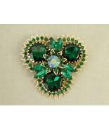 "Vintage Rhinestone Brooch Pin emerald green gold signed Judy Lee 2.5"" t ... - $28.50"