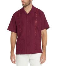 Men's Burgundy Beach Wedding Casual Short Sleeve Guayabera Dress Shirt - 2XL image 2