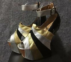 Jeffrey Campbell Rock-Star Black Silver Gold Heeless Sandal US7M - $148.50