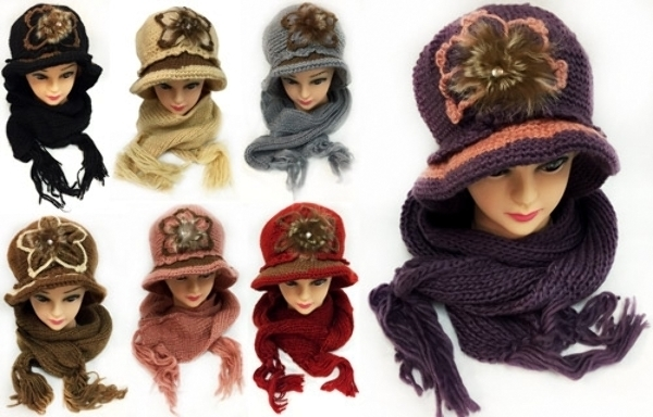 Case of [12] Women's Winter Knitted Hat & Scarf Set - Flower Embellishment
