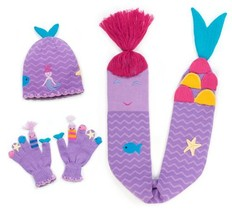 Kidorable Purple Mermaid Soft Knit Hat/Scarf/Glove Set for Girls With Fun Stars