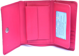 Classy Deep Cerise Violet Many Slots Real Crocodile Leather Trifold Wallet - $179.99