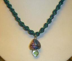 Fimo Glass Mushroom Hemp Choker Necklace handmade macrame Girls jewelry ... - $16.99