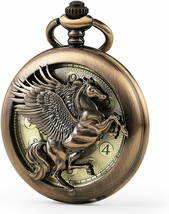 Vintage Elegant Flying Horse Pocket Watch with Two Chains Leather & Metal - $39.99