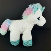 "Dan Dee White Plush Unicorn Teal Pink Stuffed Animal 13"" Stars Fluffy St... - $18.80"