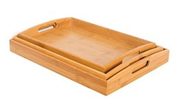 BirdRock Home 3 pc Breakfast Bed Tray Rounded - Bamboo - Cut Out Handles - Set o