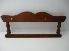 Vintage Wood Key Rack Holder 4 Hooks Wall Plaque Mid Century Turned Spin... - $9.99