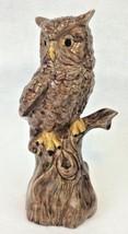 """Vtg Large 10""""  Pottery Owl Statue Retro Brown Ceramic Bird Signed AHJ Da... - $9.46"""