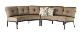 Half moon sofa deep seating outdoor furniture 3pc with table curved bench Bronze image 2