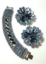 VINTAGE LARGE LIGHT & DARK BLUE RHINESTONE BRACELET & BROOCH SET - $100.00
