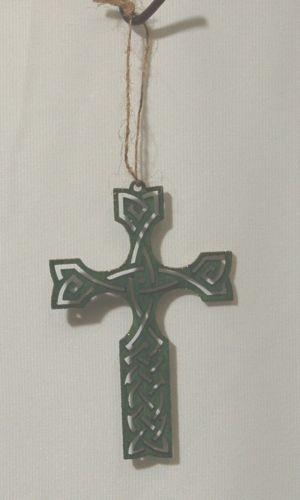 Wooden Light Weight 4 Inch Green Celtic Knots Irish Cross Decoration