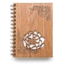 Peonies Laser Cut Wood Journal Notebook/Birthday Gift/Gratitude Journal/Handmade