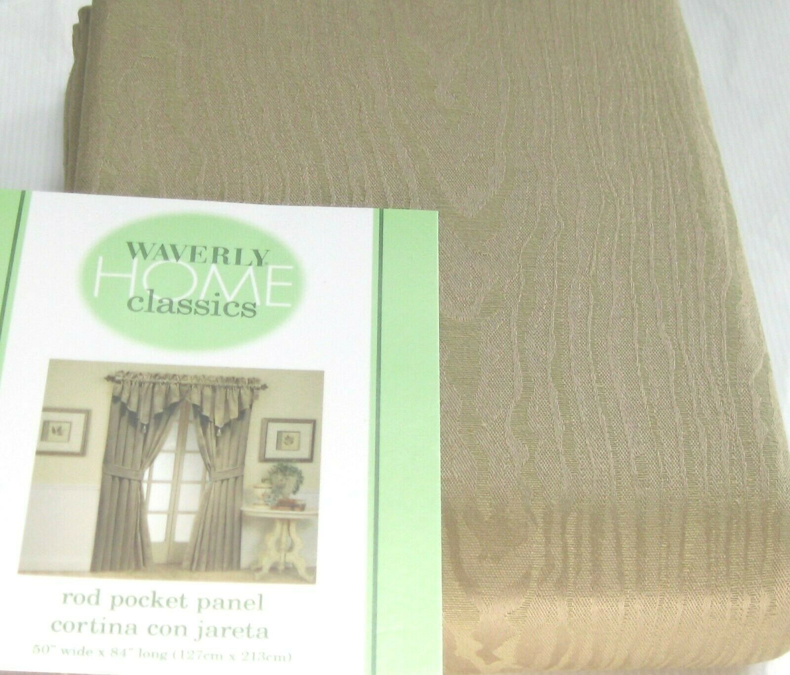 Primary image for Two Waverly Drape Curtain Rod Pocket Panel MOIRE Khaki Tan Beige Pair 84L NIP