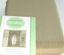 Two Waverly Drape Curtain Rod Pocket Panel MOIRE Khaki Tan Beige Pair 84... - $59.36