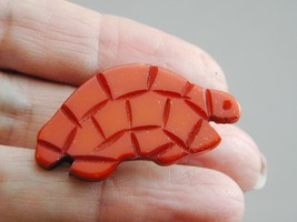Early Lucite Plastic Bakelite Carved Red Turtle Pin - $29.99