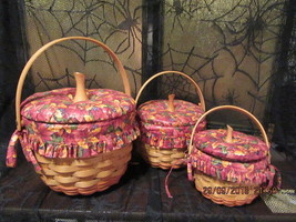 Longaberger Baskets 1995-1997 Pumpkin Baskets Combo With Fall Foliage Fabric - $199.00