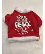 Pet Clothes Apparel Outfit Dog Tshirt Size M Red White Fur Trim Love Pea... - $8.78