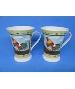 2 Pimpernel Fine Porcelain Mugs England Rooster & Pig - $21.56