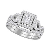 14kt White Gold Princess Diamond Bridal Wedding Engagement Ring Band Set 7/8 Ctw - £1,164.05 GBP