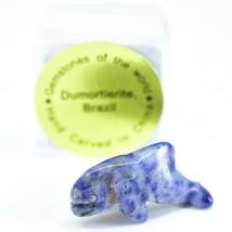 Dumortierite Gemstone Tiny Miniature Whale Stone Figurine Hand Carved China
