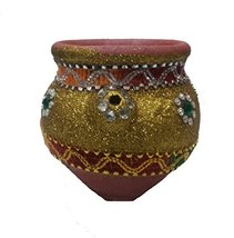 Handmade karwa chauth Golden pooja kalash with cover Indian traditional ... - $17.82