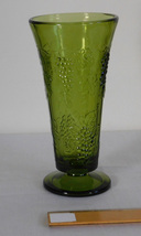 Vintage Indiana Glass 1970s Avocado Green Harvest Grape 7 1/2 Inch Foote... - $7.99