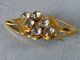 Vintage golden brooch with clear crystals Vintage clear rhinestones broo... - $25.00