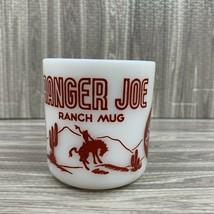Vintage Red Ranger Joe Ranch Mug Hazel Atlas Child's Cowboy Cup Milk Glass  - $22.99