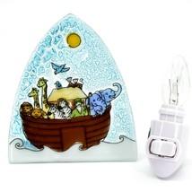 Fused Art Glass Noah's Ark Christian Religious Night Light Handmade in Ecuador
