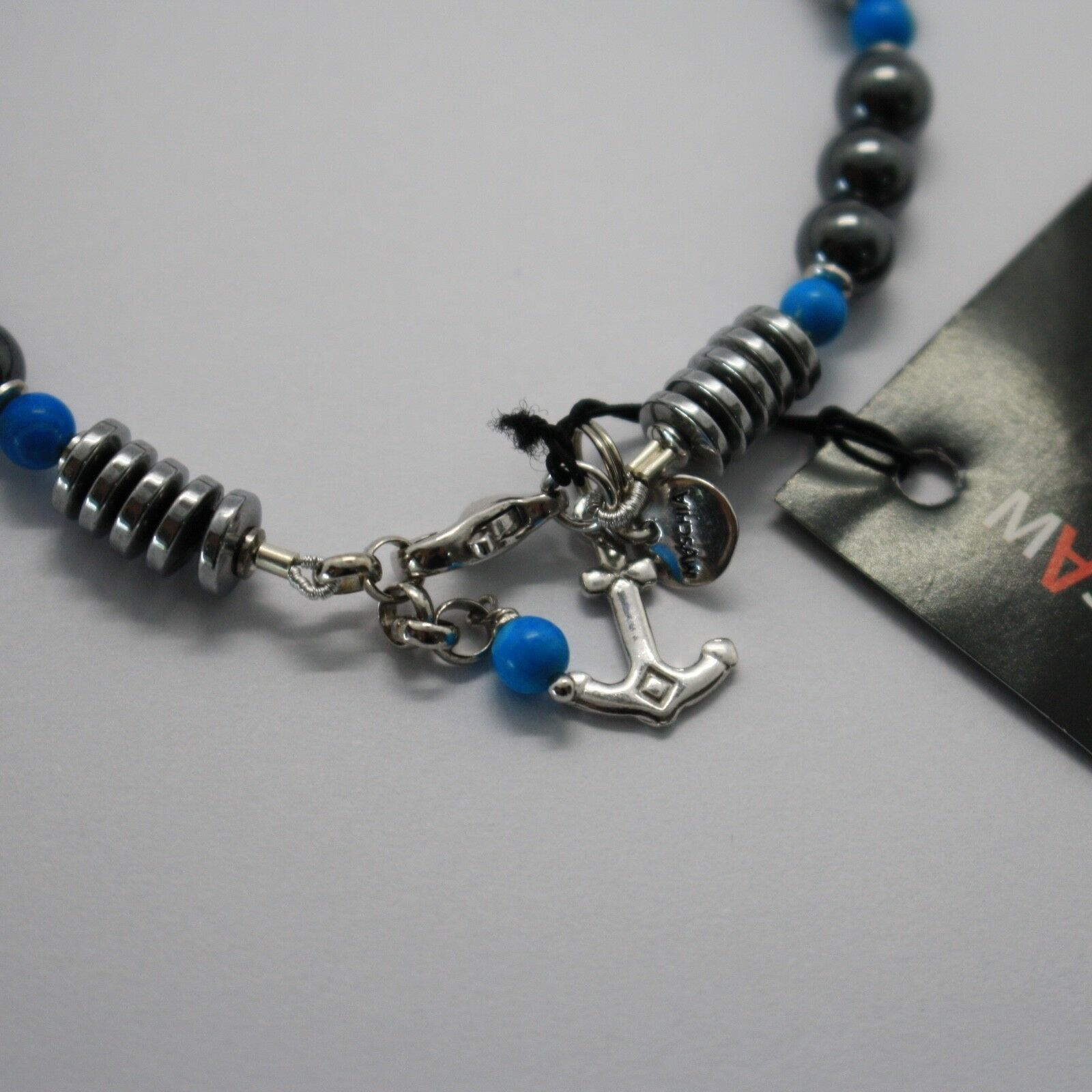 Bracelet en Argent 925 avec Turquoise Ed Hématite BLE-2 Fabriqué en Italie By image 4