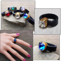 Fashion Cocktail Party Black Real Leather ring with Swarovski crystals - $11.10