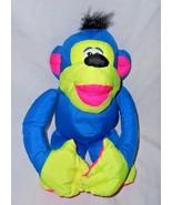 Vintage Fisher Price Puffalump Chattering Monkey Neon Blue Plush Stuffed... - $13.84