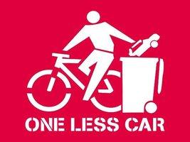 BICYCLE TSHIRT One Less Car T-shirt Cycling Jersey Vegan Vegetarian crust punk   - $11.99