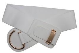Women Gold Metal Hook Buckle Elastic Wide Winter White Hot Belt Plus Size M L XL - $15.67