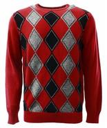 Geoffrey Beene Men's Sweater Red Wine Black Argyle Crewneck Knit Pullove... - $27.99