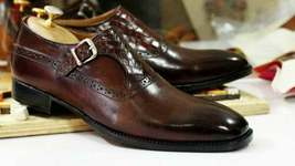 Handmade Men Chocolate Brown Leather Monk Strap Dress/Formal Shoes image 3