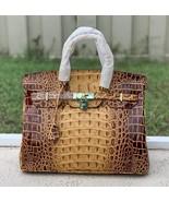 35cm Brown Crocodile Embossed Print Italian Leather Birkin Type Satchel ... - $188.05