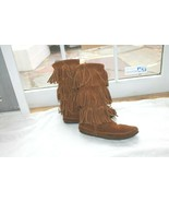 Minnetonka Size 9 Moccasin 1638 Brown Suede 3 Layer Fringe Calf High Boots - $24.75