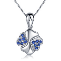 14k White Gold Plated 925 Silver Round Blue Sapphire Women's Pendant With Chain - $47.25