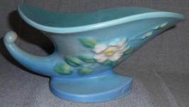 1940s Roseville Pottery White Rose Pattern Cornucopia Vase w/Flower Frog - $128.69