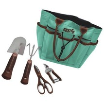 Blooms 5-Piece Gardening Tool Set Teal Canvas Bag Color: Teal Canvas Bag... - $18.41