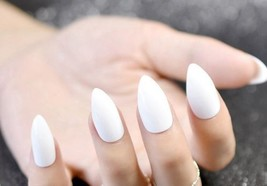 White almond shape 24 piece artificial nails set medium length - $9.99
