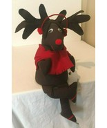 Vintage Reindeer Brown Handmade Stuffed Fabric Cloth Christmas Decor Dec... - $39.99