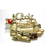 Danecraft Pin I love 2 Cook brooch Figural Vintage - $17.99