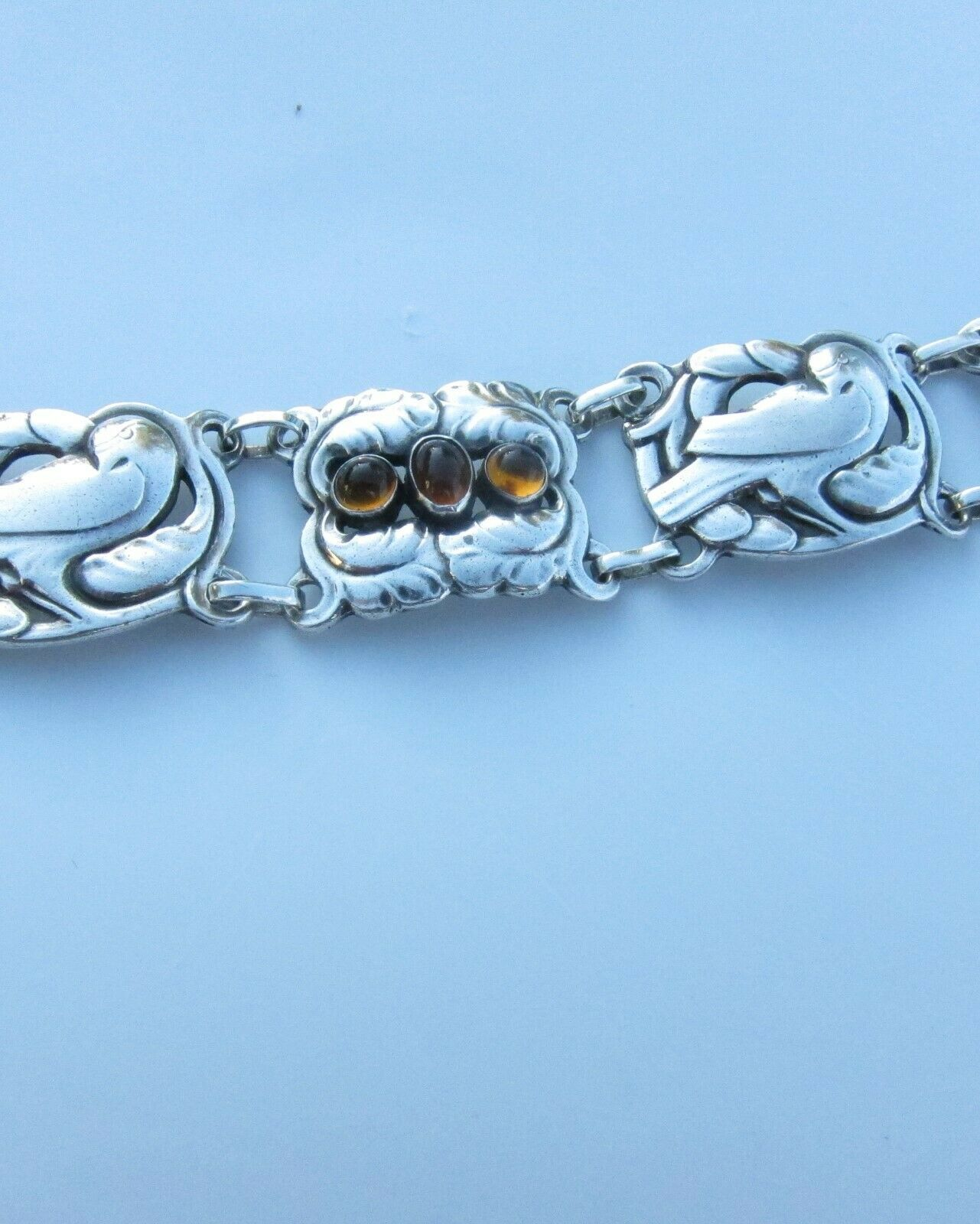 Primary image for    Antique Early Georg Jensen .830 Silver Amber Bird Bracelet  C.1920